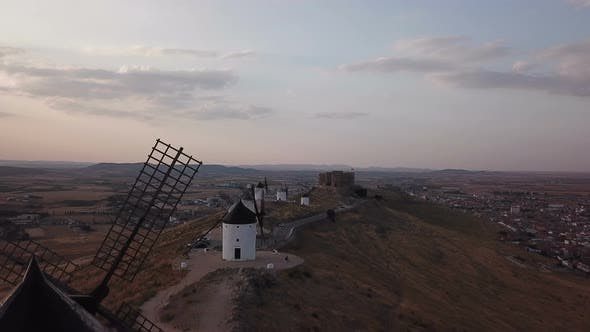 Thumbnail for Windmills on Hill at Sunset in Consuegra Mancha Spain