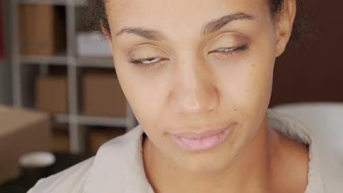 Close Up of Beautiful Biracial Woman