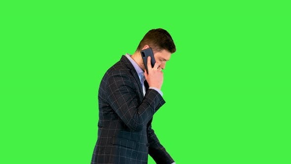 Businessman Talking on Smartphone Busy Millennial Business Leader Walk During Phone Conversation on