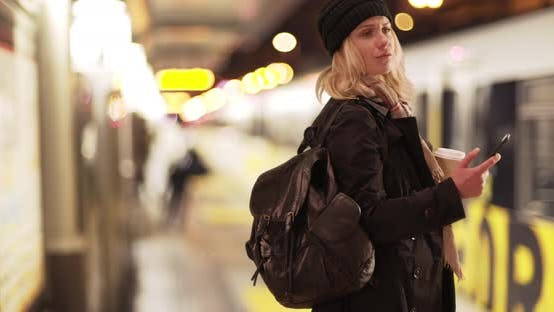 Thumbnail for Attractive woman waiting for her train