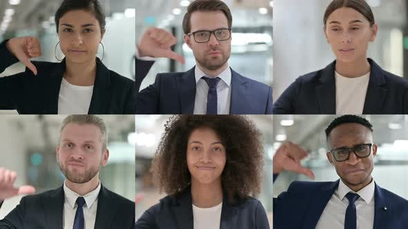 Collage of Young Business People Showing Thumbs Down Sign