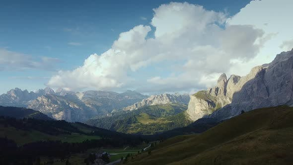 Drone Aerial View of Dolomites Italy Alps