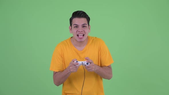 Thumbnail for Happy Young Multi Ethnic Man Playing Games and Winning