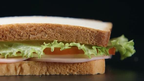 Bread Slice Falls On A Sandwich