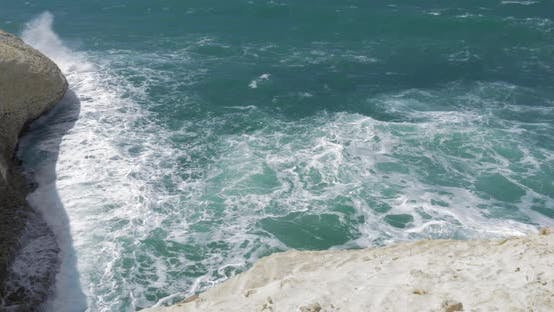 Thumbnail for Rosh Hanikra Seascape with White Chalk Cliffs