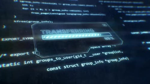Computer Code Displayed on Sci-Fi Screen as Transferring Message is Displayed