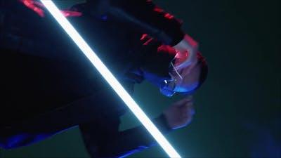 Cyberpunk Party Neon Light People Woman Dancing
