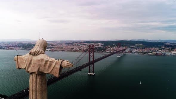 Famous Lisbon Jesus Monument Against Picturesque City View