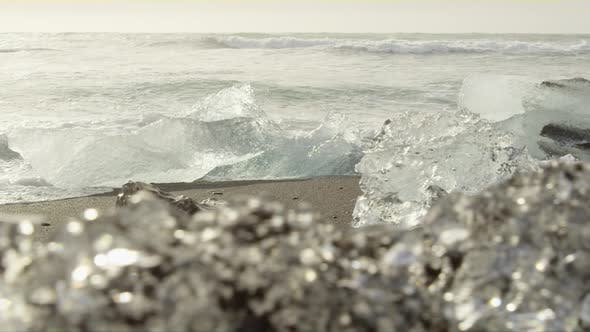 Pieces of Ice  on Black Sand Beach