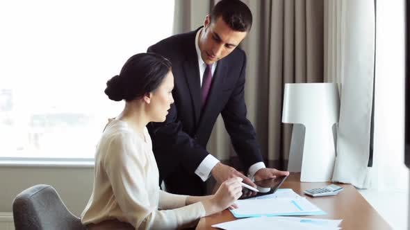 Thumbnail for Business Team with Papers and Tablet Pc at Hotel