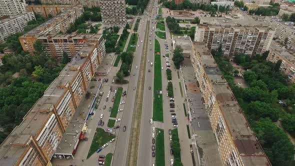 Aerial Shot of Modern Russian City Samara, Host City of World Cup