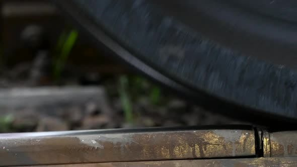 Cover Image for Train Rides on Rails, Macro. Slow Motion
