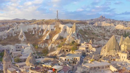 Goreme Town view from drone in Cappadocia Region Of Turkey