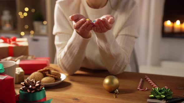 Thumbnail for Woman with Confetti and Christmas Gifts at Home