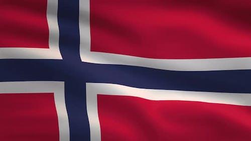 Norway Windy Flag Background 4K