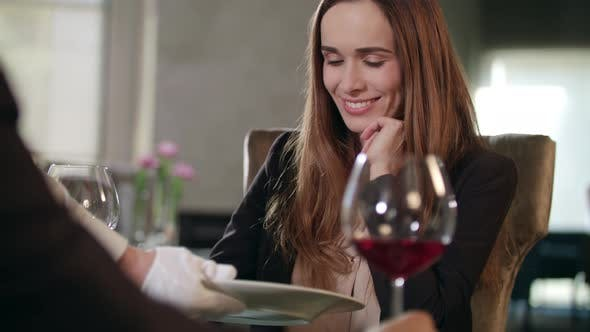 Thumbnail for Happy Business Woman in Restaurant. Adult Woman Dining in Cafe