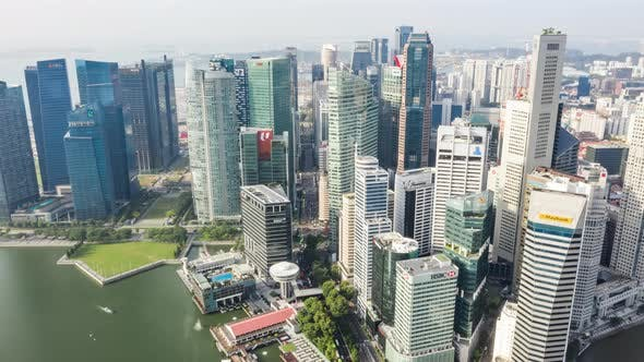 Thumbnail for Cityscape aerial view of Singapore city downtown financial district with car transportation