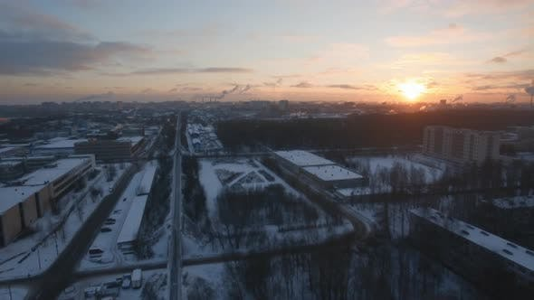 Aerial cityscape of St Petersburg in winter at dawn, Russia