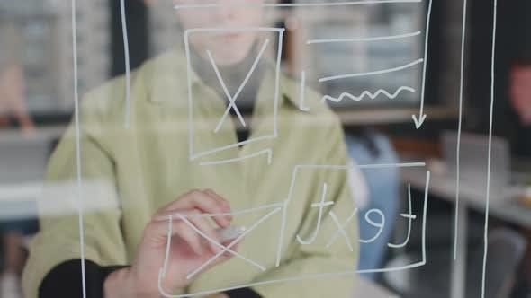 Close Up of Female App Developer Brainstorming