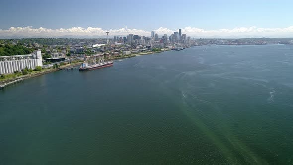 Thumbnail for Aerial Of Seattle Washington From Elliot Bay With Waterfront Ocean View Of City Skyline