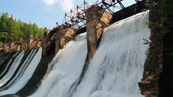 Thumbnail for Water Dam - Water Falls Down the Brick Wall - Industrial Construction in Nature