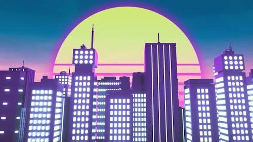 Retrowave Style Animation of Neon City