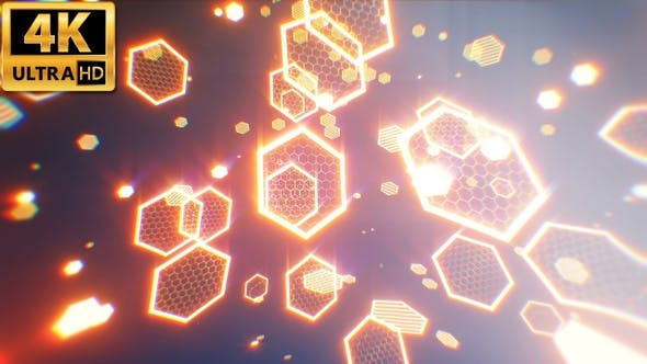 Thumbnail for Glowing Hexagons Abstract Background 4k