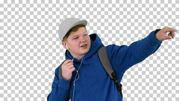 Thumbnail for Teenager boy calling on mobile phone using, Alpha Channel