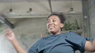 Black Woman Doing Aerobics