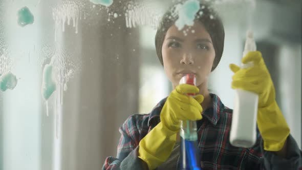 Thumbnail for Housewife Spraying Different Window Cleaners on Glass, Bringing House to Order