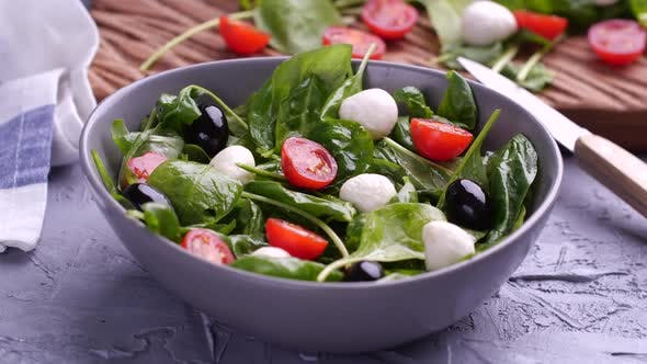 Thumbnail for Vegetarian And, Organic Food Concept. Cherry Tomato and Mozzarella Falling Down in Fresh Salad