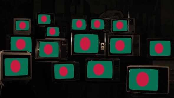 Thumbnail for The National Flag of Bangladesh on Retro TVs. Sepia Tone.