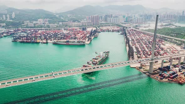 Thumbnail for Hyperlapse time-lapse of Stonecutters bridge and Hong Kong port with cargo container ship