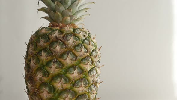 Thumbnail for Fresh pineapple exotic fruit close-up 4K 2160p 30fps UltraHD tilting footage -  Ananas comosus on wh
