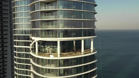 Closeup highrise tower spacious balcony