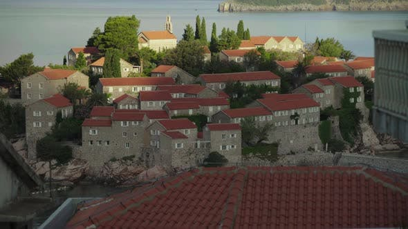 Thumbnail for Sveti Stefan Is a Tourist Town By the Sea. Montenegro. Time Lapse