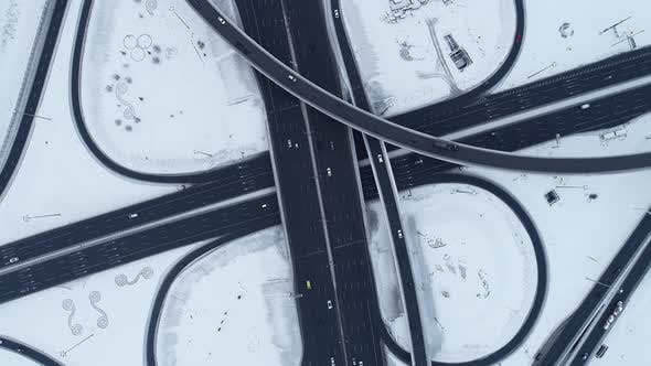 Thumbnail for Freeway Intersection Snow-Covered in Winter
