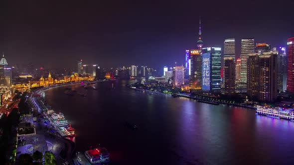 Thumbnail for Shanghai Buildings and Skyscrapers on Huangpu Bank Timelapse