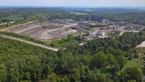 Opencast Mining Quarry for the Extraction of in the Middle of the Forest on Pennsylvania, US