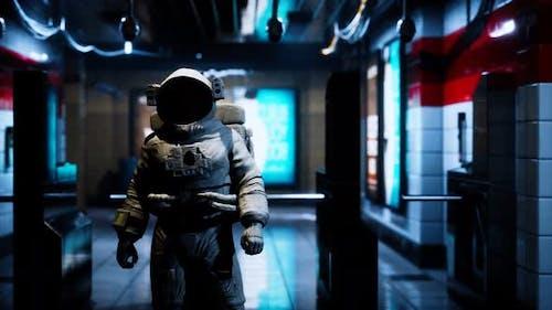Astronaut at Underground Metro Subway