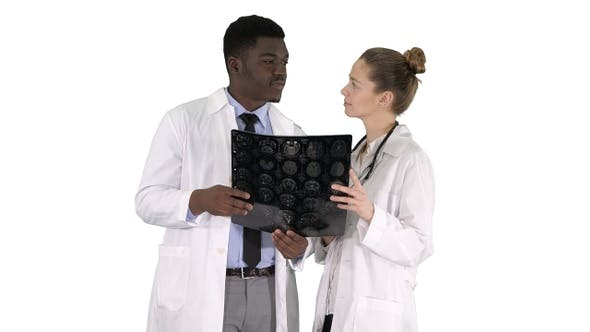 Thumbnail for Serious Nice Woman Doctor and Afro American Doctor Study