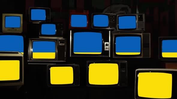 Thumbnail for Flag of Ukraine and Retro TVs.
