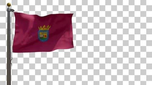 Alava City Flag auf Fahnenmast mit Alphakanal - 4K