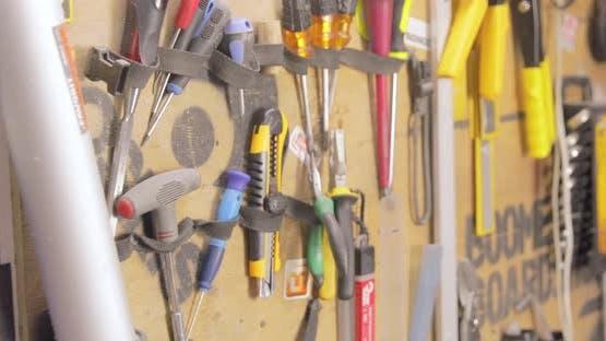 Workshop With Snowboard Repair Tools.