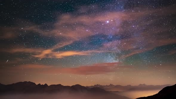 Thumbnail for Time Lapse: the Milky way and stars over the majestic Italian French Alps in summertime