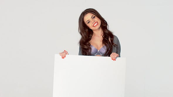 Thumbnail for Sexy Brunette Posing Isolated With Blank Board