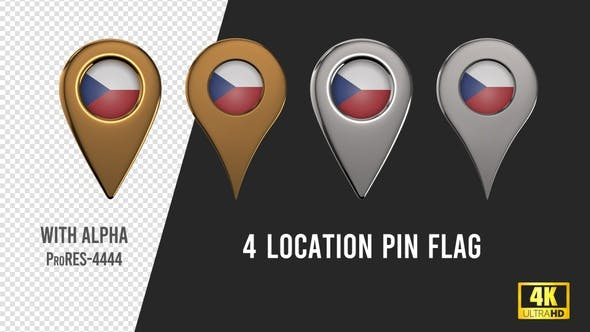Thumbnail for Czech Republic Flag Location Pins Silver And Gold