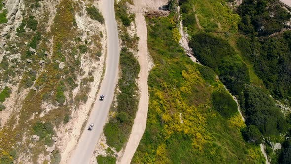 Thumbnail for Top View Down Two ATVs Riding Mountain Road, Cyprus
