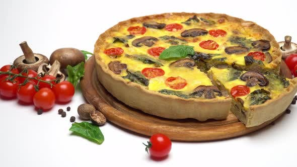 Thumbnail for Traditional French Baked Homemade Quiche Pie Isolated