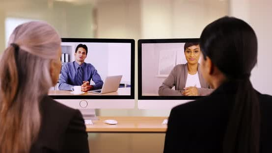 Thumbnail for Businesspeople are having a video call to discuss work